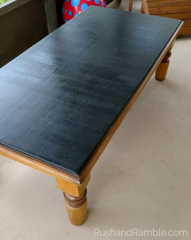 DIY Chalkboard Table with Latex Brush-on Paint by Valspar - Rush & Ramble