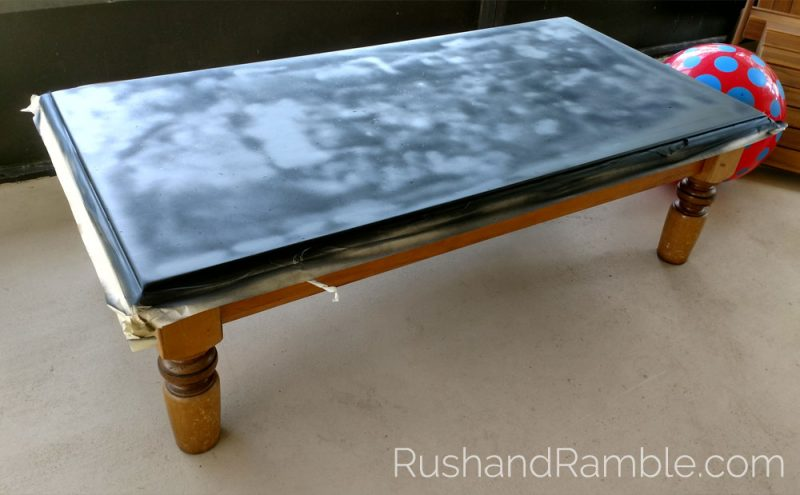 DIY Chalkboard Table with Oil-based Spray-on Paint by Valspar - Rush & Ramble