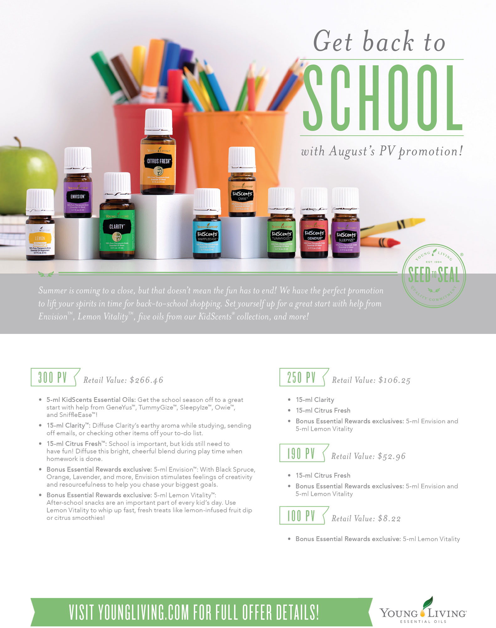 Young Living Essential Oils August 2017 Back to School PV Promo | Rush & Ramble